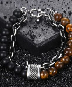Tigers Eye Stone Beaded Bracelet